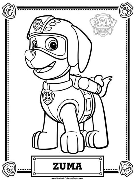 coloring paw patrol zuma paw patrol free colouring pages