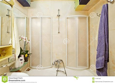 modern small shower bath with shower cubicle stock photo