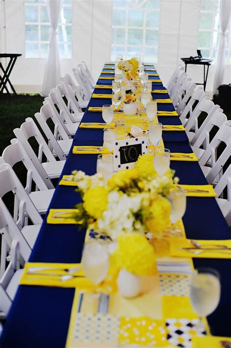 navy  yellow reception decor yellow wedding theme