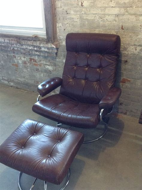 Stressless Swivel Recliner Chairs by Reserved Chris Mid Century Ekornes Brown Leather