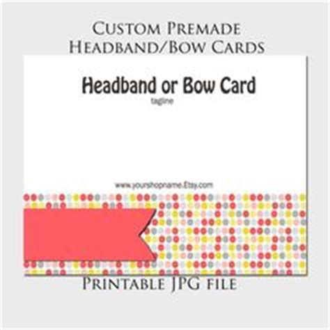 headband card template headband or bow display cards on bow display card displays and card designs