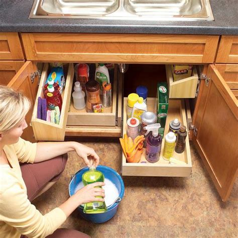 under kitchen sink storage diy storage ideas how to build kitchen storage under the sink