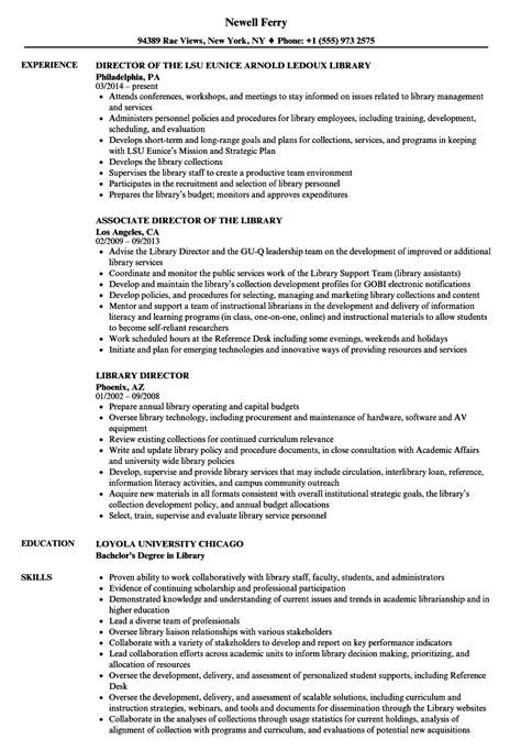 library director resume sles velvet