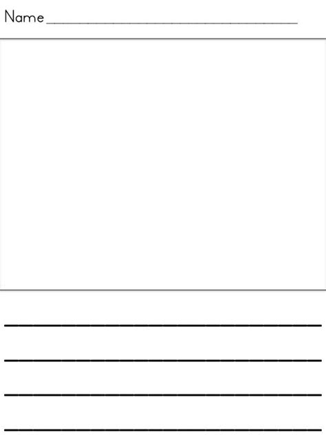 printable lined paper with drawing box writing papers kindergarten writing and writing on pinterest