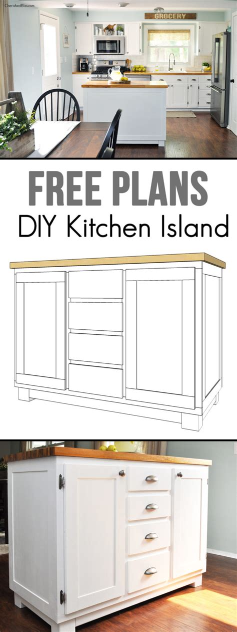 building a kitchen island with cabinets how to build a diy kitchen island cherished bliss