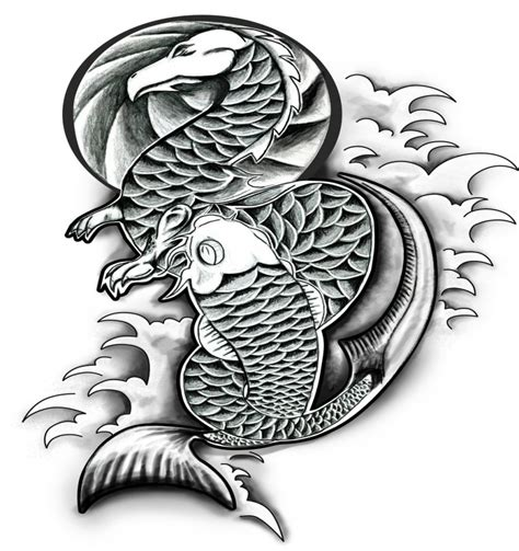 koi fish tattoo designs black and white black and white and koi fish design by dan