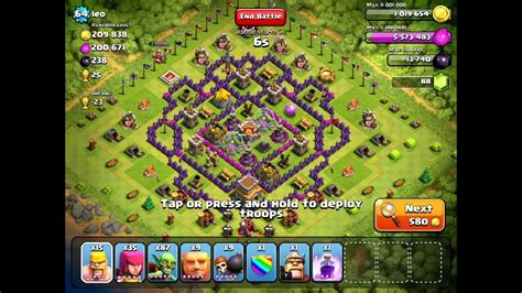 offensive layout in coc clash of clans offense lvl 64 town hall 8 youtube