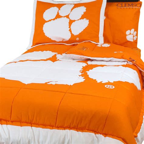 clemson comforter ncaa clemson tigers full bed set orange cotton bedding