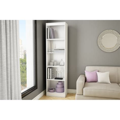 south shore axess collection 4 shelf bookcase pure white axess south shore 5 shelf bookcase