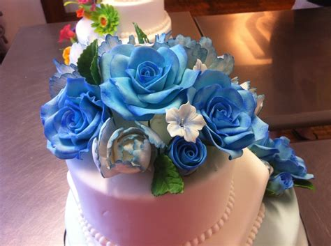 blue wedding cakes with flowers blue wedding cake with gumpaste flowers cakecentral