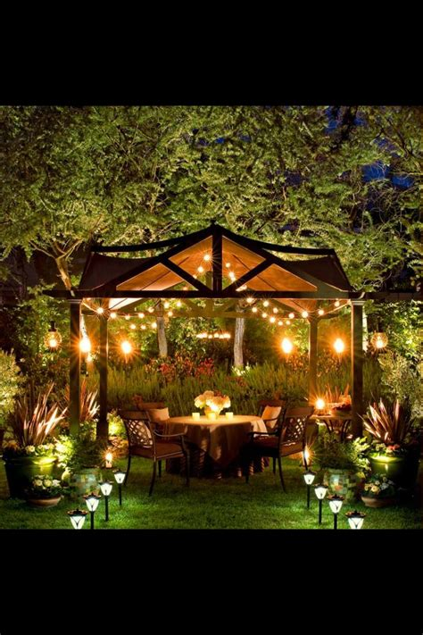 pergola  firepit  sail shades  lights