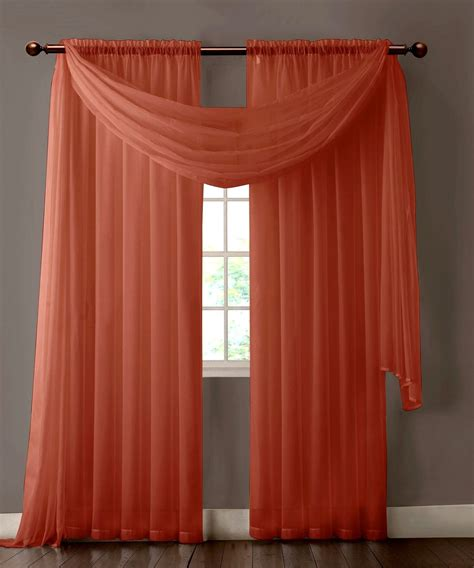 Sheer Curtains Orange Warm Home Designs Pair Of Orange Rust Sheer Curtains Or Window Scarf Sheer Curtains
