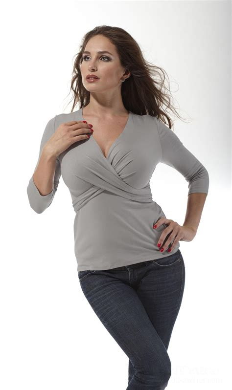 breasted top wrap tie top in grey melange blouse for a large bust
