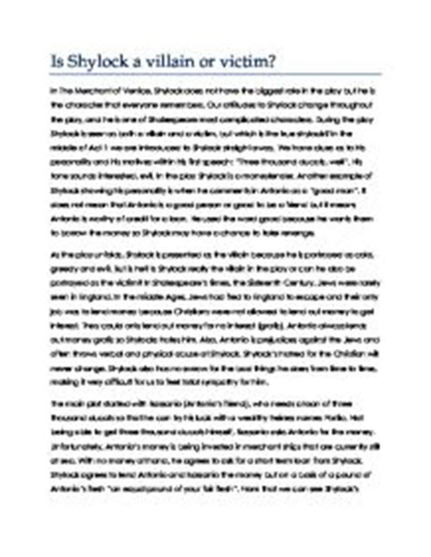 Shylock Essay by The Merchant Of Venice Shylock Victim Or Villain Essay Articleeducation X Fc2