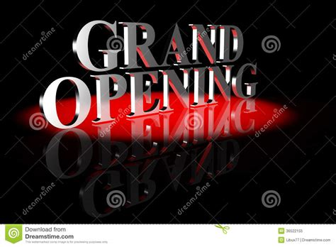 black mirror opening grand opening 3d text royalty free stock photo image