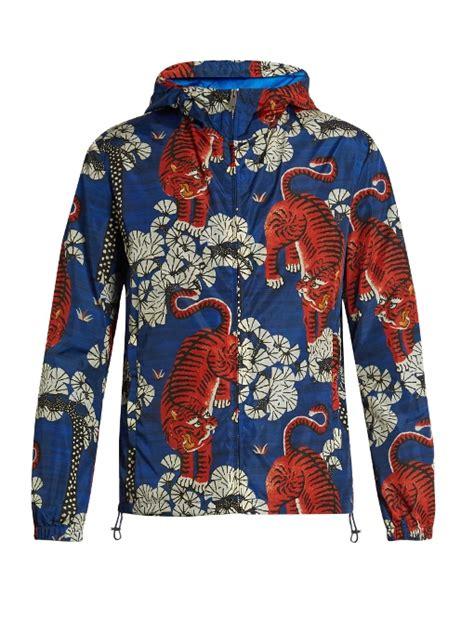 Jaket Blue Tiger gucci bengal tiger print jacket blue modesens