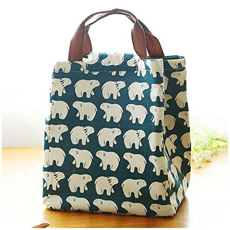 Cotton Lunch Bag mziart reusable cotton lunch bag insulated lunch tote