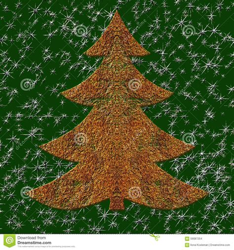 illustration of golden wired christmas tree stock