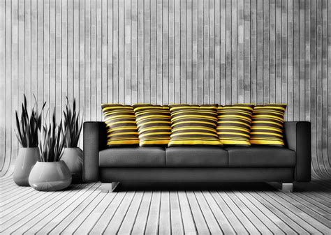 grey and yellow sofa black sofa and yellow hold pillow in grey living room