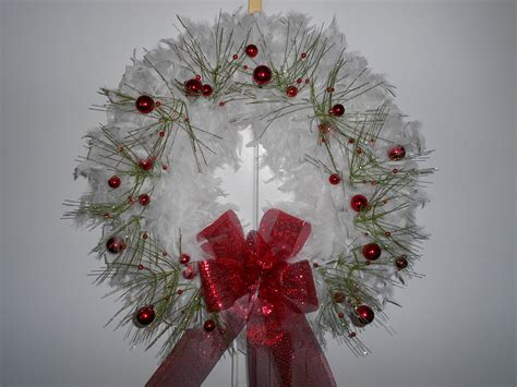 christmas wreath white christmas feather wreath by thewreaths