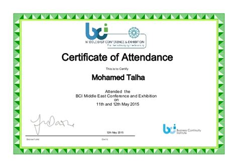 certificate of attendance conference template bci me conference attendance certificate