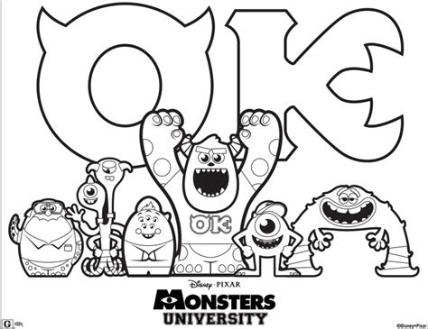 disney preschool fishacb6 coloring pages printable free disney pixar monsters university printable coloring