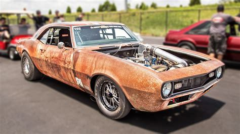 rusty muscle car 1400hp rusty camaro takes roll racing top speed