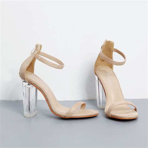 Glass Heel clear glass heel pvc simple one ankle sandals