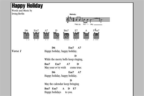 happy holiday sheet  irving berlin guitar chordslyrics