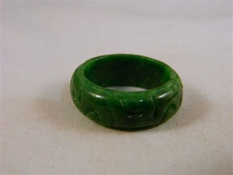 ring black jade jari all size vintage solid green jade ring asian carved green