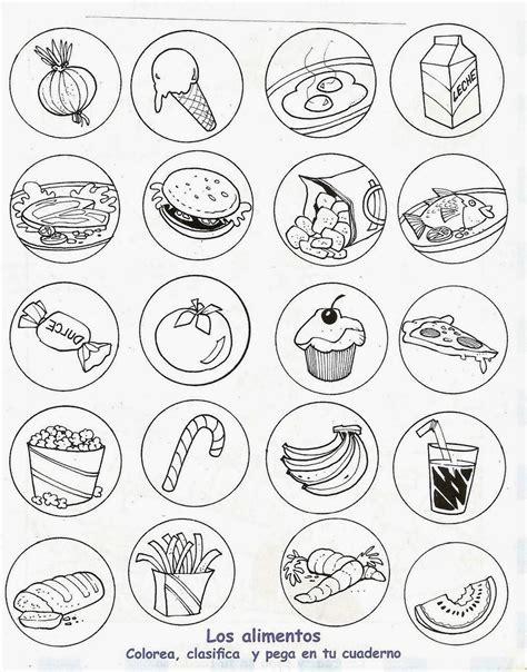 dibujo alimentos alimentos saludables y alimentos chatarra para colorear