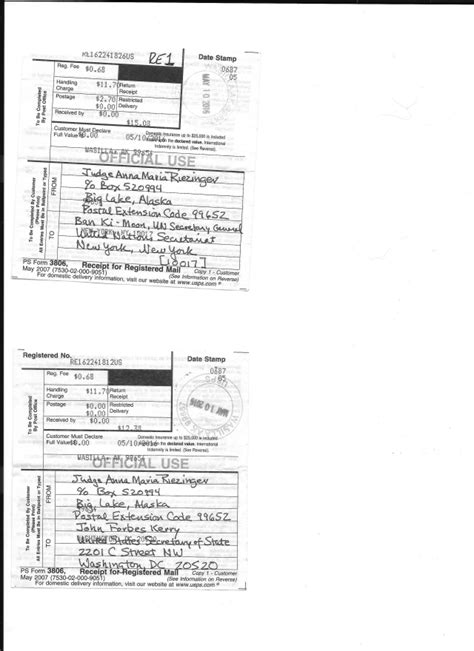 Transmittal Letter Receipt Paul Stramer Lincoln County May 10th Us Debt Transmittal Letter