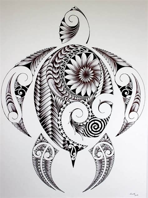 polynesian turtle tattoo groovy turtle illustration design