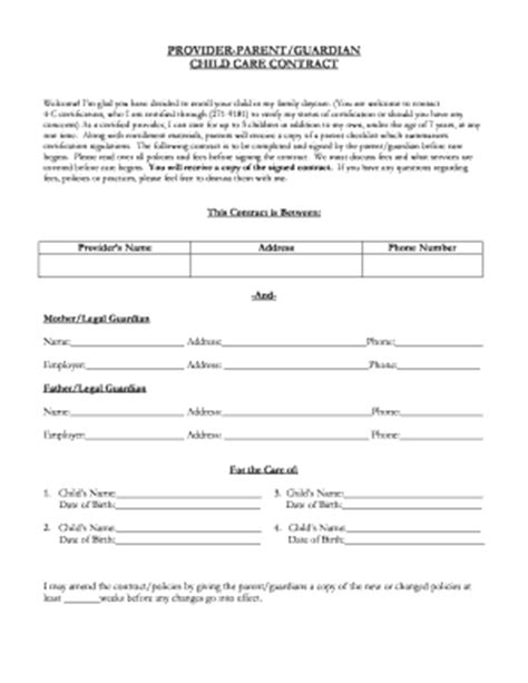 Babysitter Contract Pdf Fill Online Printable Fillable Blank Pdffiller Child Care Contract Template Free