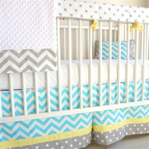 yellow chevron crib bedding chevron blue and yellow bumperless crib rail bedding