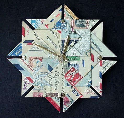 Themed Origami - wall clock airmail travel theme origami clock by giftedpapers