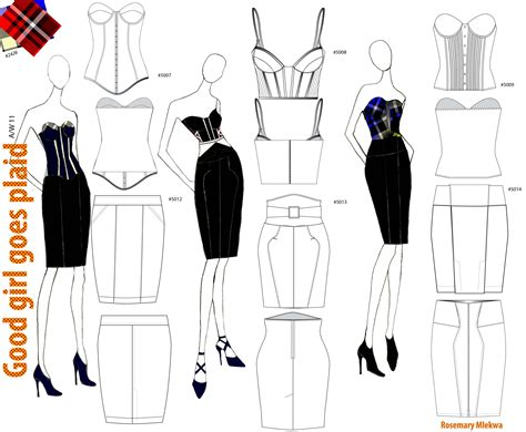 fashion illustration flats textile and layouts by