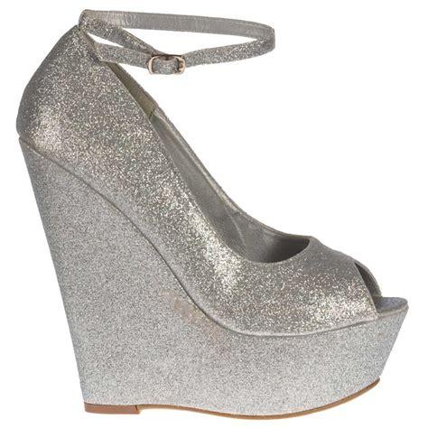 shoekandi silver wedge glitter peep toe platform shoes