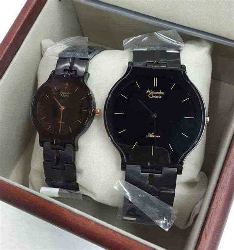 Alexandre Christie Ac 8410 Original Black Gold Sepasang alexandre christie ac 8410 all black murahgrosir