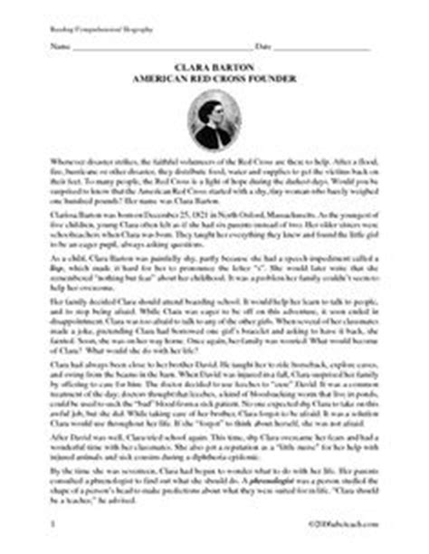 biography reading comprehension 3rd grade clara barton timeline clara barton angel of the