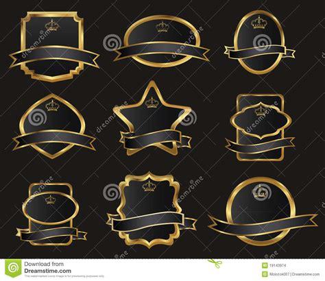 Set Perhiasan Black Gold set of black gold framed labels stock vector image 19143974