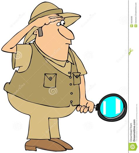 safari guide clipart safari man with magnifying glass stock illustration