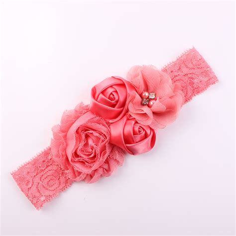 big lace flower headbands for girls baby hair band crochet headband wholesale coral baby headband shabby flower headband hair