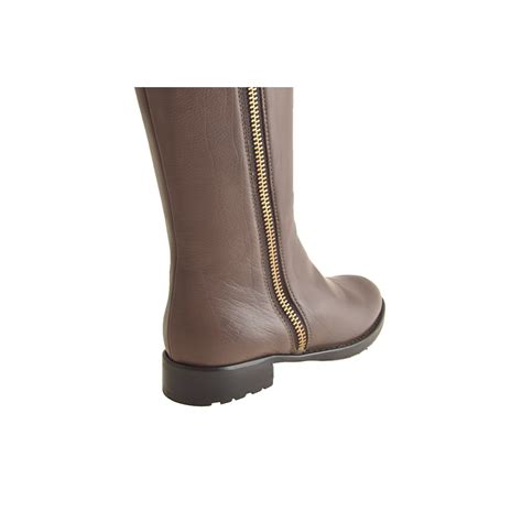 small or large boots with zip in brown leather