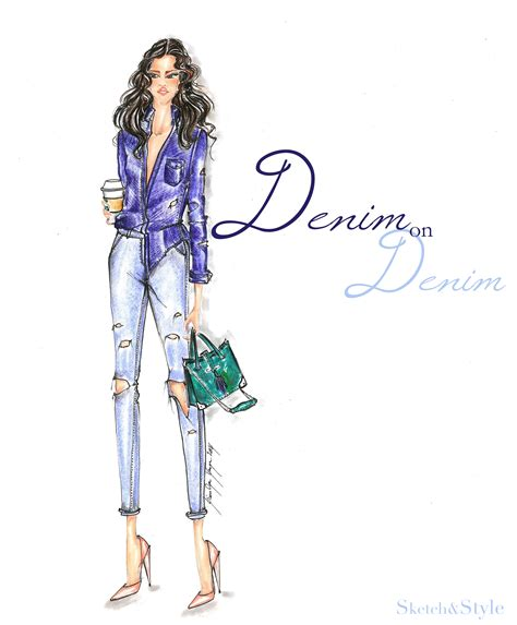fashion illustration denim sketch style