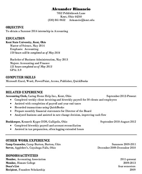 Accounting Intern Resume by Internship Accounting Resume Sle Http Resumesdesign