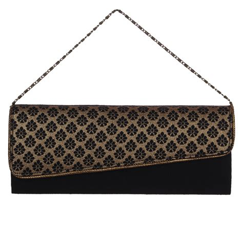 Handmade Evening Bags - black gold handmade womens clutch purse evening bag