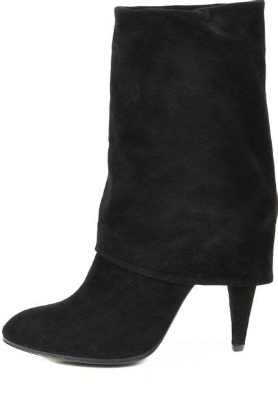sigerson morrison suede fold  boots  black lyst