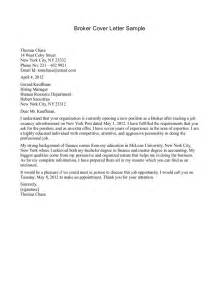 cover letter for insurance broker cover letter sle insurance cover letter sle