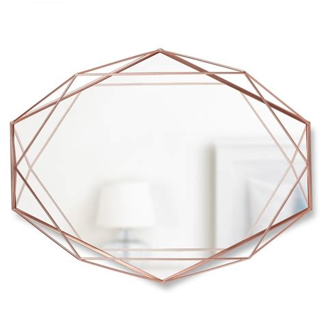 copper wall mirror uk umbra prisma mirror copper wire frame geometric mirror